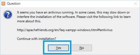 XAMPPインストール2メッセージYes